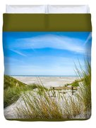 Romantic Bench In The Dunes Overlooking The German North Sea Duvet Cover
