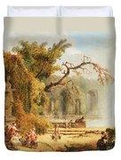 Romantic Garden Scene Duvet Cover by Hubert Robert