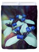 Romantic Island Lilies In Blues Duvet Cover