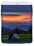 Romantic Smoky Mountain Sunset Duvet Cover