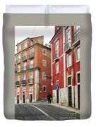 Romantic Walking At Old Lisbon Duvet Cover