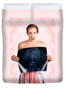 Romantic Woman In Love With Butterflies In Tummy Duvet Cover