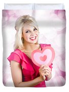 Romantic Woman With Heart Shape Valentine Card Duvet Cover