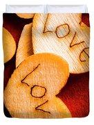 Romantic Wooden Hearts Duvet Cover
