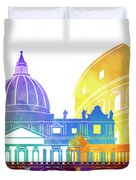 Rome Landmarks Watercolor Poster Duvet Cover