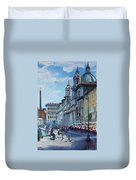 Rome Piazza Navona Duvet Cover by Ylli Haruni