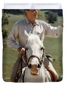 Ronald Reagan On Horseback  Duvet Cover