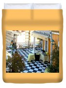 Rooftop Cafe Duvet Cover by Karen Zuk Rosenblatt