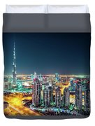 Rooftop Perspective Of Downtown Dubai Duvet Cover