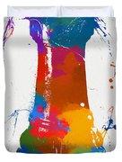 Rook Chess Piece Paint Splatter Duvet Cover