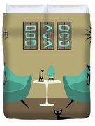 Room With Dark Aqua Chairs 2 Duvet Cover