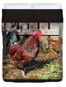 Rooster And Friend Duvet Cover