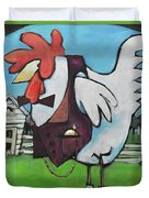 Rooster And Hen House Duvet Cover