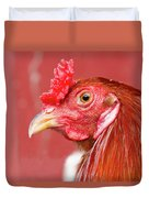 Rooster Close-up On A Reddish Background Duvet Cover