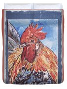Rooster Country Painting On Blue  Duvet Cover