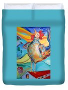 Rooster Crows -- Joy Arising Duvet Cover
