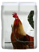 Rooster In Miami Backyard Duvet Cover