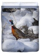 Rooster In The Snow Duvet Cover