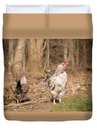 Rooster In The Woods. Duvet Cover