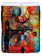 Rooster On The Door Whimsy Duvet Cover