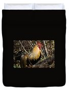 Rooster Protecting Hen Duvet Cover