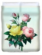 Rosa Lutea And Rosa Indica Duvet Cover by Pierre Joseph Redoute