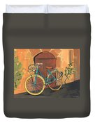 Rose And Bicycle Duvet Cover