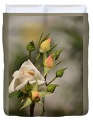 Rose And Buds Duvet Cover by Atul Daimari