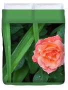 Rose And Day Lily Lives Duvet Cover