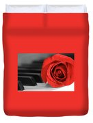 Rose And Piano Duvet Cover