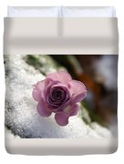 Rose And Snow Duvet Cover