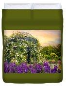 Rose Arbor At Sunset Duvet Cover