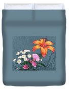 Rose Baby Breath And Lilly Duvet Cover