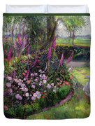 Rose Bed And Geese Duvet Cover by Timothy Easton