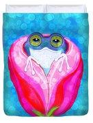 Rose City Rain Frog Duvet Cover