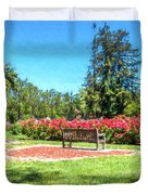 Rose Garden Benches Impressionist Digital Painting Duvet Cover