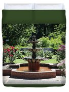 Rose Garden Fountain Duvet Cover