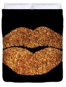 Rose Gold Texture Kiss, Lipstick On Pouty Lips, Fashion Art Duvet Cover