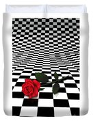 Rose On Black And White #0073 Duvet Cover