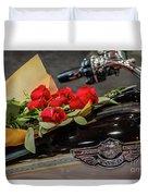 Harley Davidson And Roses Duvet Cover