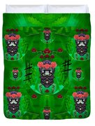 Rose Sugar Skull In Fern Garden Duvet Cover
