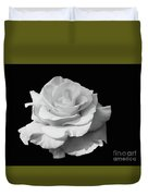 Rose Unfurled In Black And White Duvet Cover