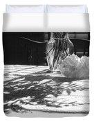 Rose Vase In Shadows Black And White Duvet Cover