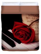 Rose With Sheet Music On Piano Keys Duvet Cover