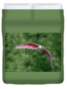 Roseate Spoonbill In Flight 2 Duvet Cover