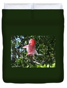 Roseate Spoonbill In Flight Duvet Cover