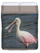 Roseate Spoonbill With Something To Say Duvet Cover