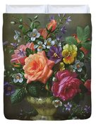 Roses And Pansies Duvet Cover