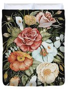 Roses And Poppies Bouquet Duvet Cover