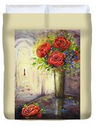 Roses And Woman Duvet Cover